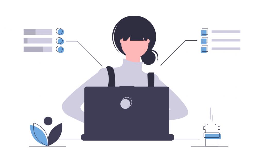 donna al computer che programma calendario